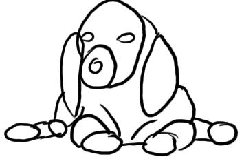 Beagle Welpe zeichnen - Schritt 1