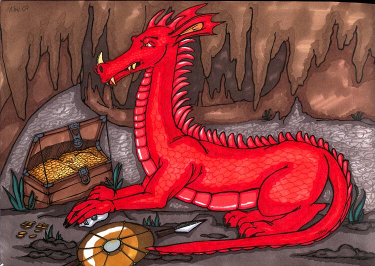 Drachen in Drachenhöhle mit Schatz - Schattierung