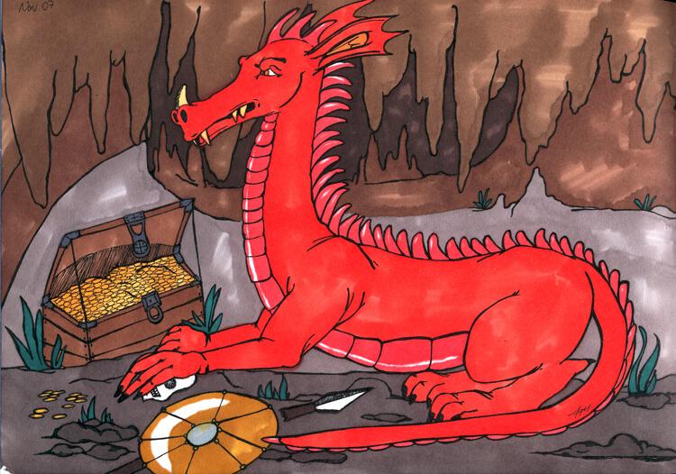 Drache in Drachenhöhle mit Schatz - Grundkolorierung