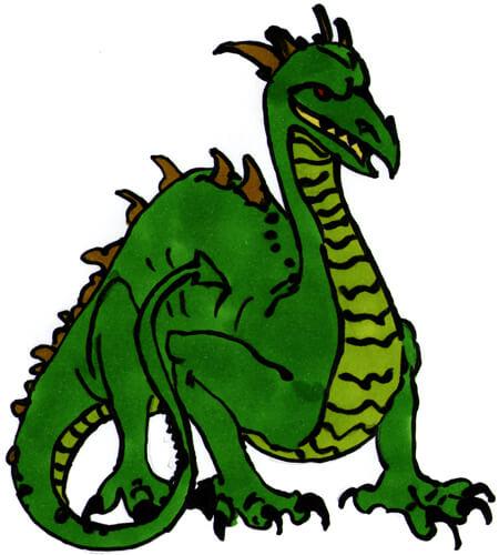 Drachen ohne Flügel - Zeichenanleitung Kolorierung