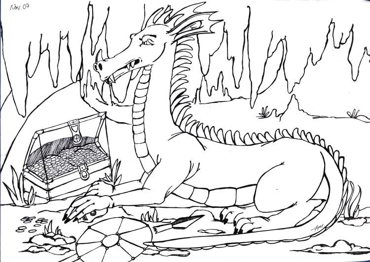 Drachen in Drachenhöhle mit Schatz - Konturen