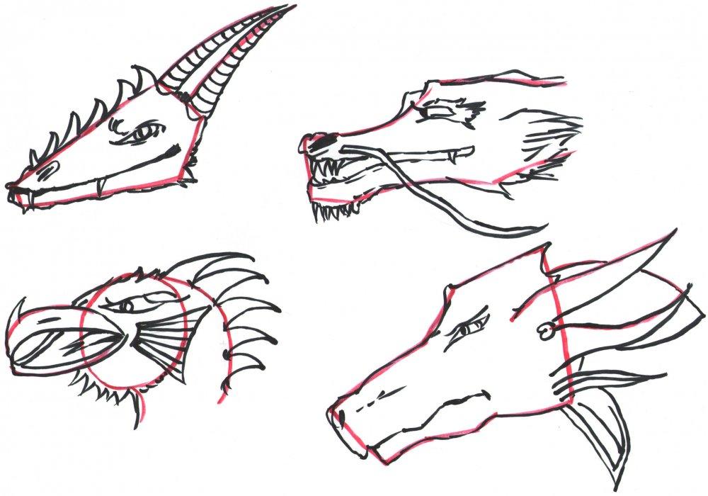 Drachenköpfe zeichnen