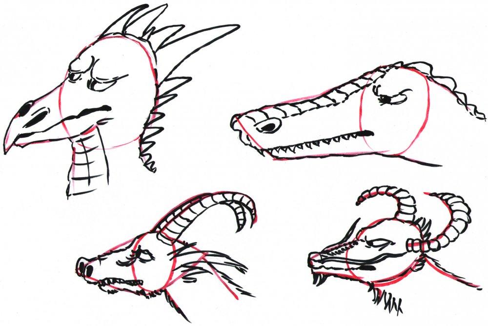 Drachenköpfe zeichnen 2