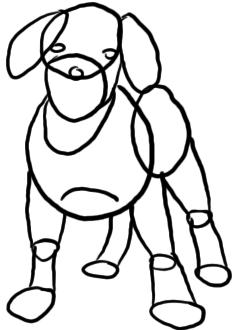 Welpe zeichnen - Schritt 1