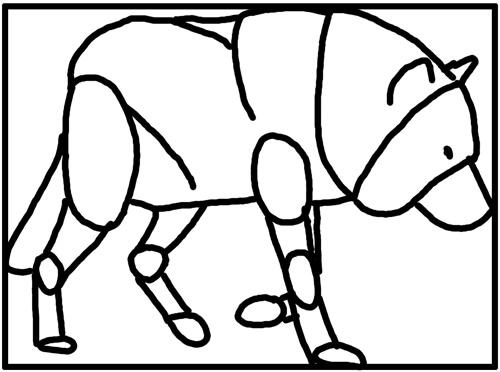 Wölfe und Wildhunde: Kauernder wolf Grundskizze zeichnen