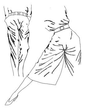 Kleidung und Stofffalten: Kreuzfalten an Hosen und Hosenröcken