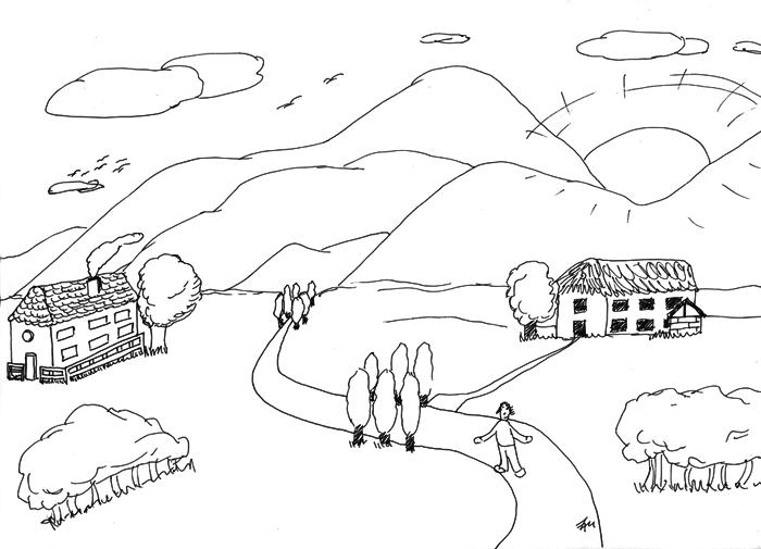 Landschaftsskizze mit Tusche gemalt