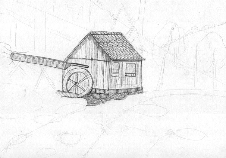 Landschaft zeichnen Berghütte Bleistiftzeichnung 1
