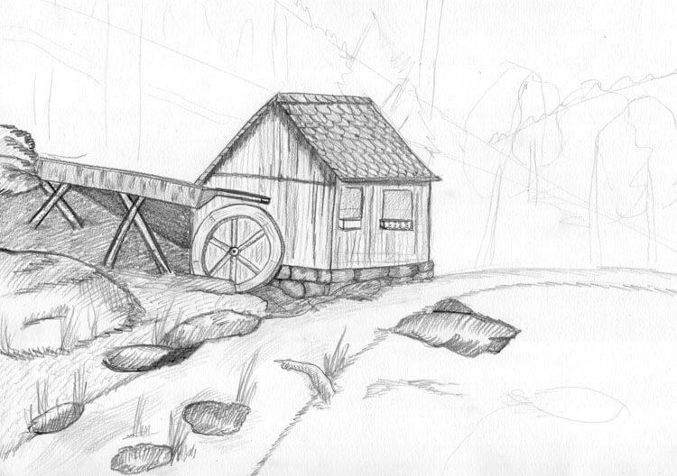 Landschaft zeichnen Berghütte Bleistiftzeichnung 2