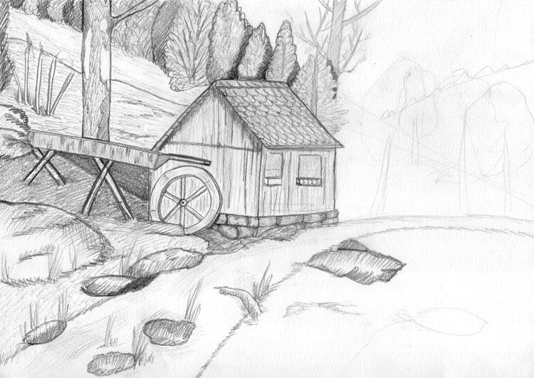 Landschaft zeichnen Berghütte Bleistiftzeichnung 3