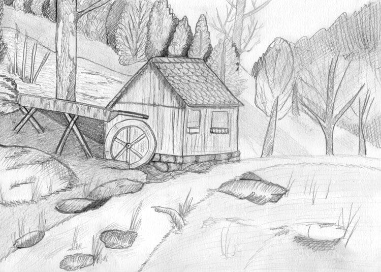 Landschaft zeichnen Berghütte Bleistiftzeichnung 4