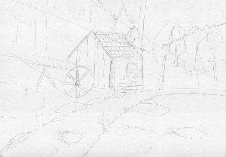 Landschaft zeichnen Berghütte Skizze