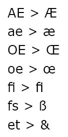 Beispiele für Ligaturen