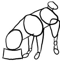 Mops frisst aus Napf zeichnen - Schritt 1