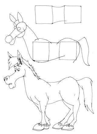 Comicpferd zeichnen
