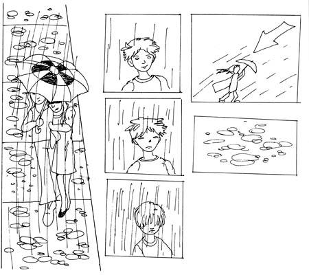 Verschiedene Arten von Regen zeichnen