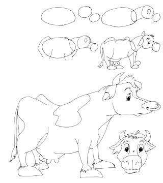 Comickuh und Rind zeichnen