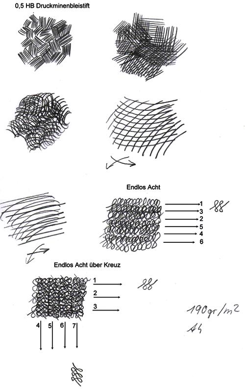 Schattieren und Schraffieren: Verschiedene Bogen- und Achterschraffuren