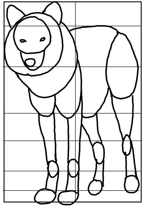 Wölfe und Wildhunde: Stehender Wolf Skizze