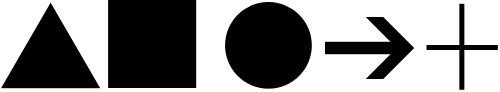 Urzeichen: Dreieck, Vierck, Kreis, Pfeil, Pluszeichen