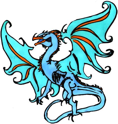 Vogeldrache in blau - Beispielzeichnung