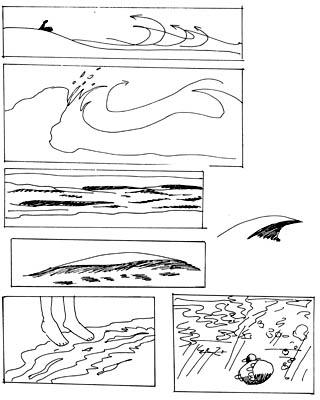 Verschiedene Wellen am Strand zeichnen