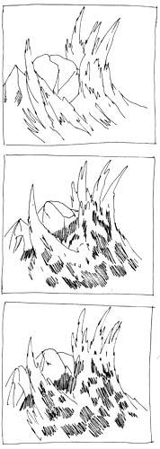 Welle zerbricht an Felsen zeichnen