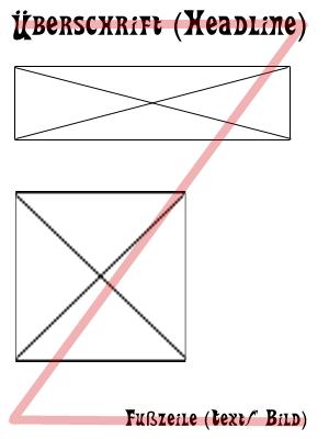 Z-Form als Grundlage für den Plakataufbau