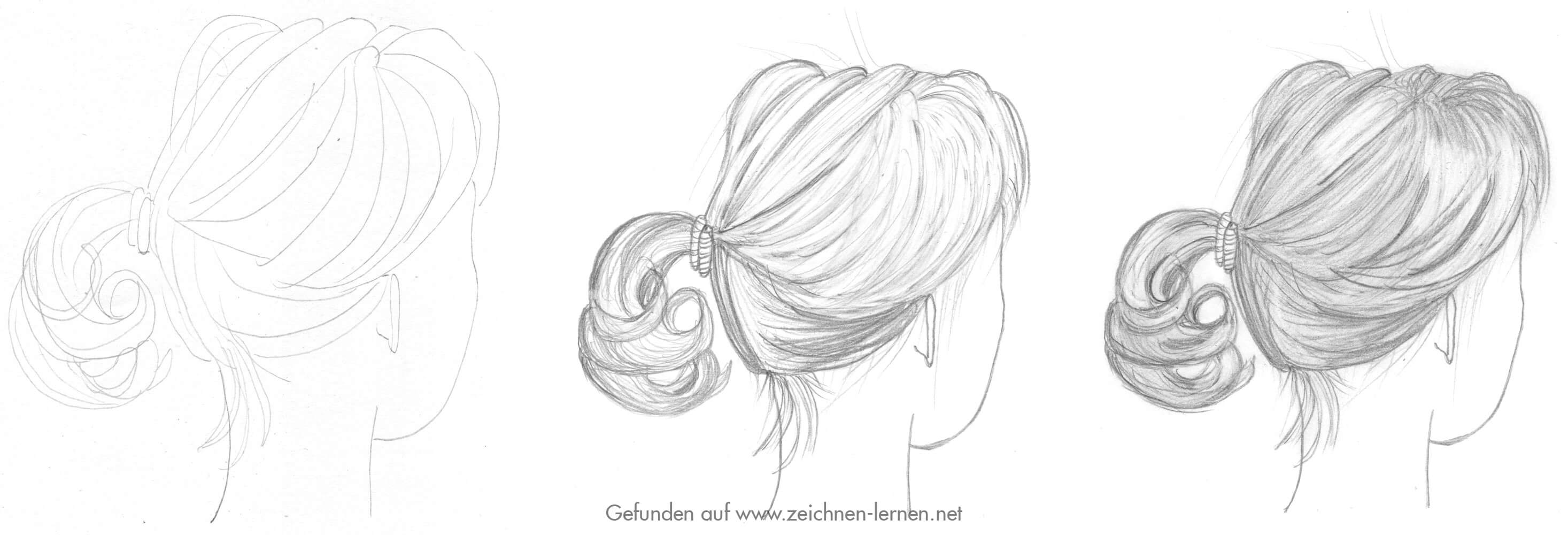 Bleistiftskizze Haare Frisur Zopf