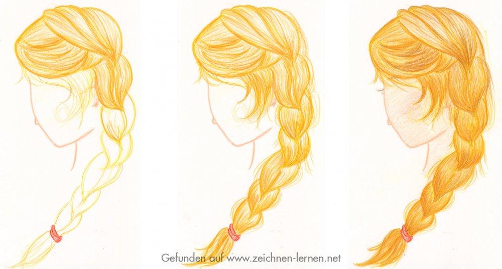 Buntstiftskizze Frisur geflochtener Zopf mit blonden Haaren