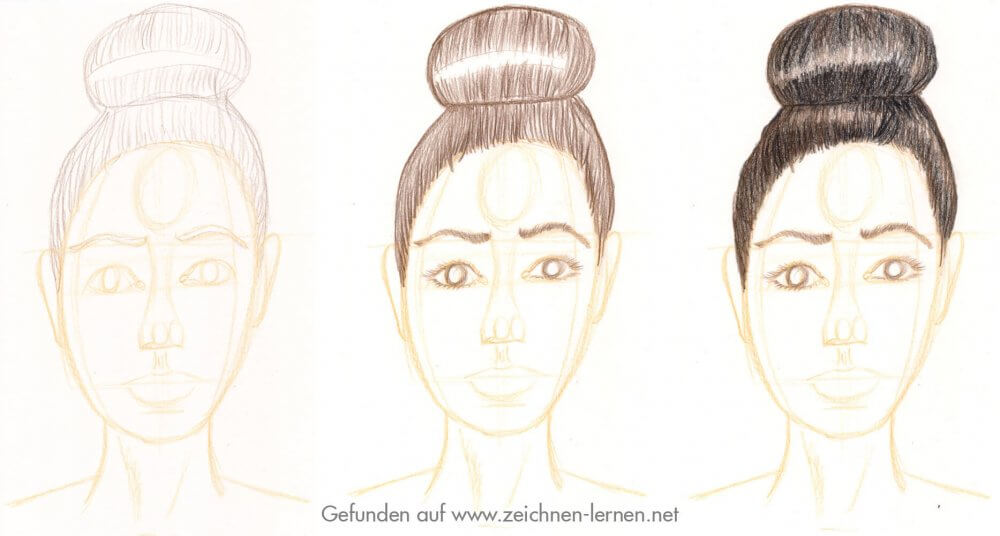 Dutt Frisur zeichnen / braune Haare malen