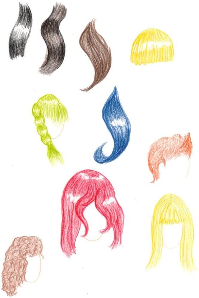 Frisuren zeichnen und verschiedene Haarfarben malen