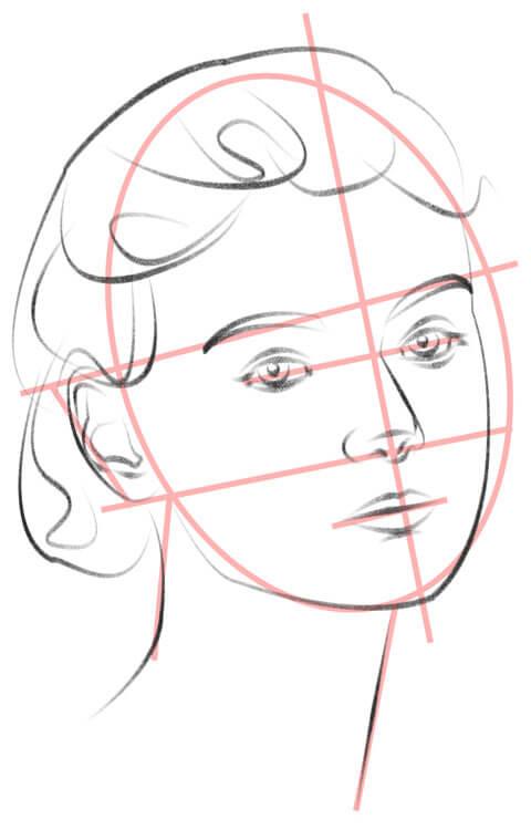 Gesicht leicht seitlich zeichnen Hilfslinien und Zeichnung