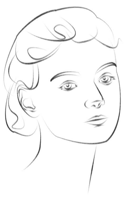 Gesicht leicht seitlich zeichnen Zeichnung
