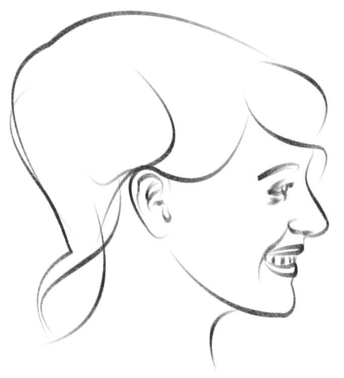 Gesicht von der Seite zeichnen Zeichnung