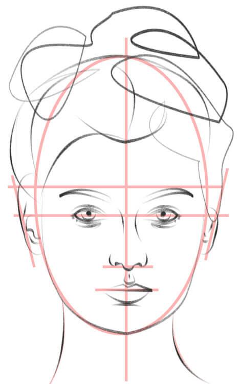 Gesicht von vorne zeichnen Hilfslinien und Zeichnung