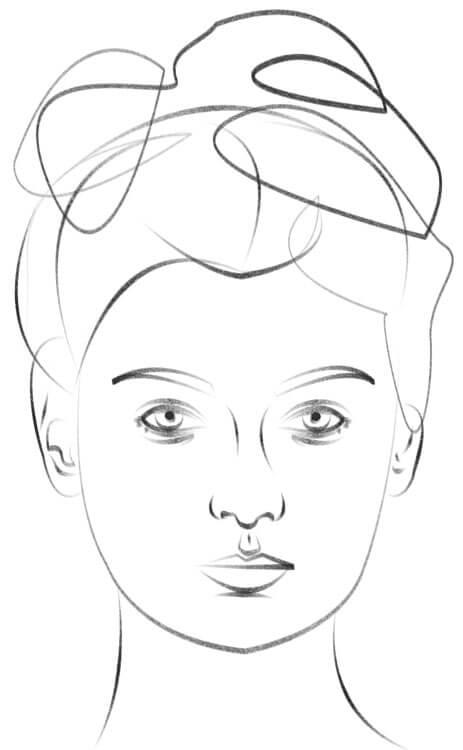 Gesicht von vorne zeichnen Zeichnung
