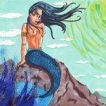 Meerjungfrau auf Felsen über Wasser