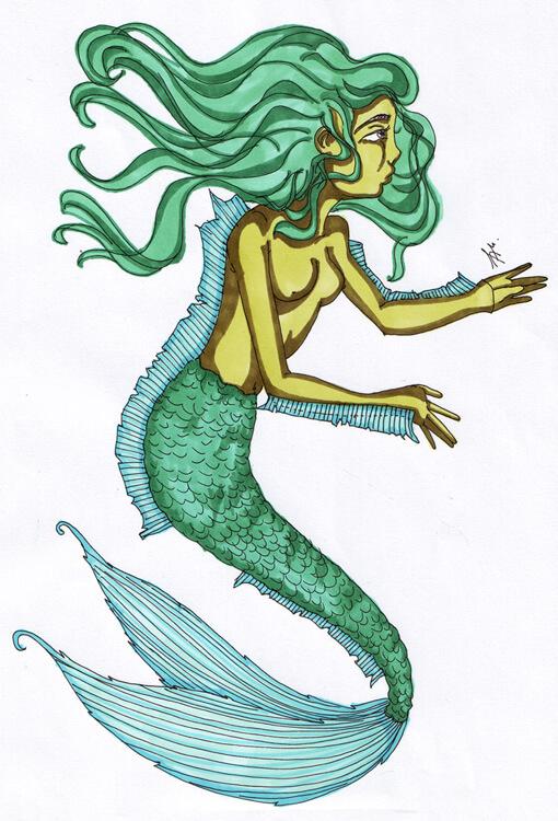 Meerjungfrau in grün