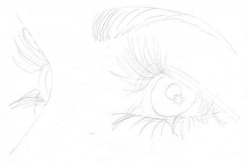 Auge von der Seite zeichnen lernen Bleistiftskizze