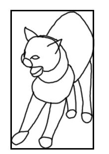 Fauchende Katzen - Skizze mit Grundformen