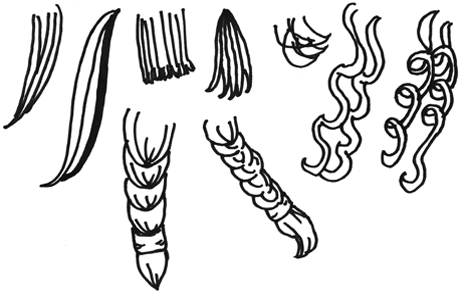 Haarsträhnen und Zöpfe - Beispiele