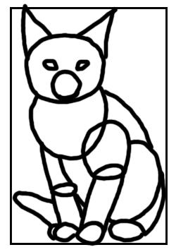 Sitzendes Kätzchen - Skizze mit Grundformen