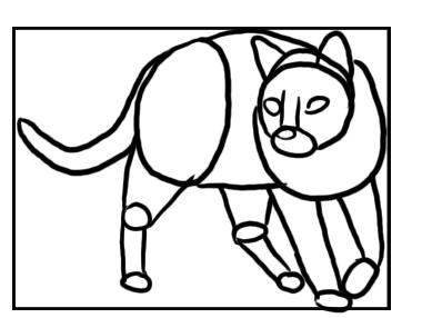 Katze dreht sich - Skizze mit Grundformen
