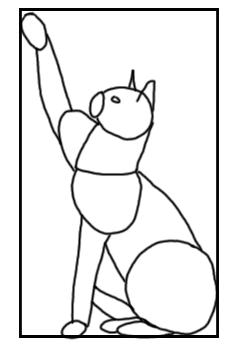 Katzen Skizze mit Grundformen