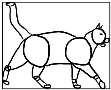 Laufende Katzen von der Seite - Skizze mit Grundformen