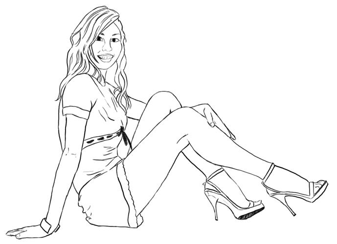 Liegend sitzende Frau zeichnen - Schritt 3