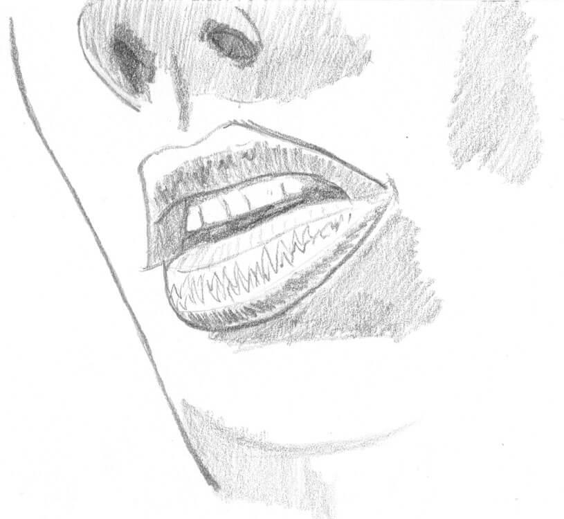 Mund zeichnen lernen: Bleistiftzeichnung 2