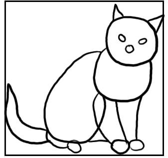 Sitzende Katzen - Skizze mit Grundformen