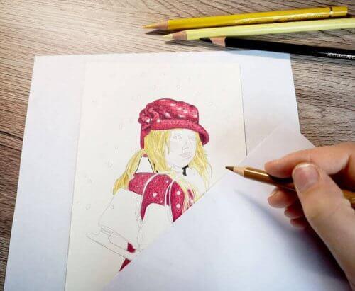 Mädchen malen mit Polychromos Buntstiften